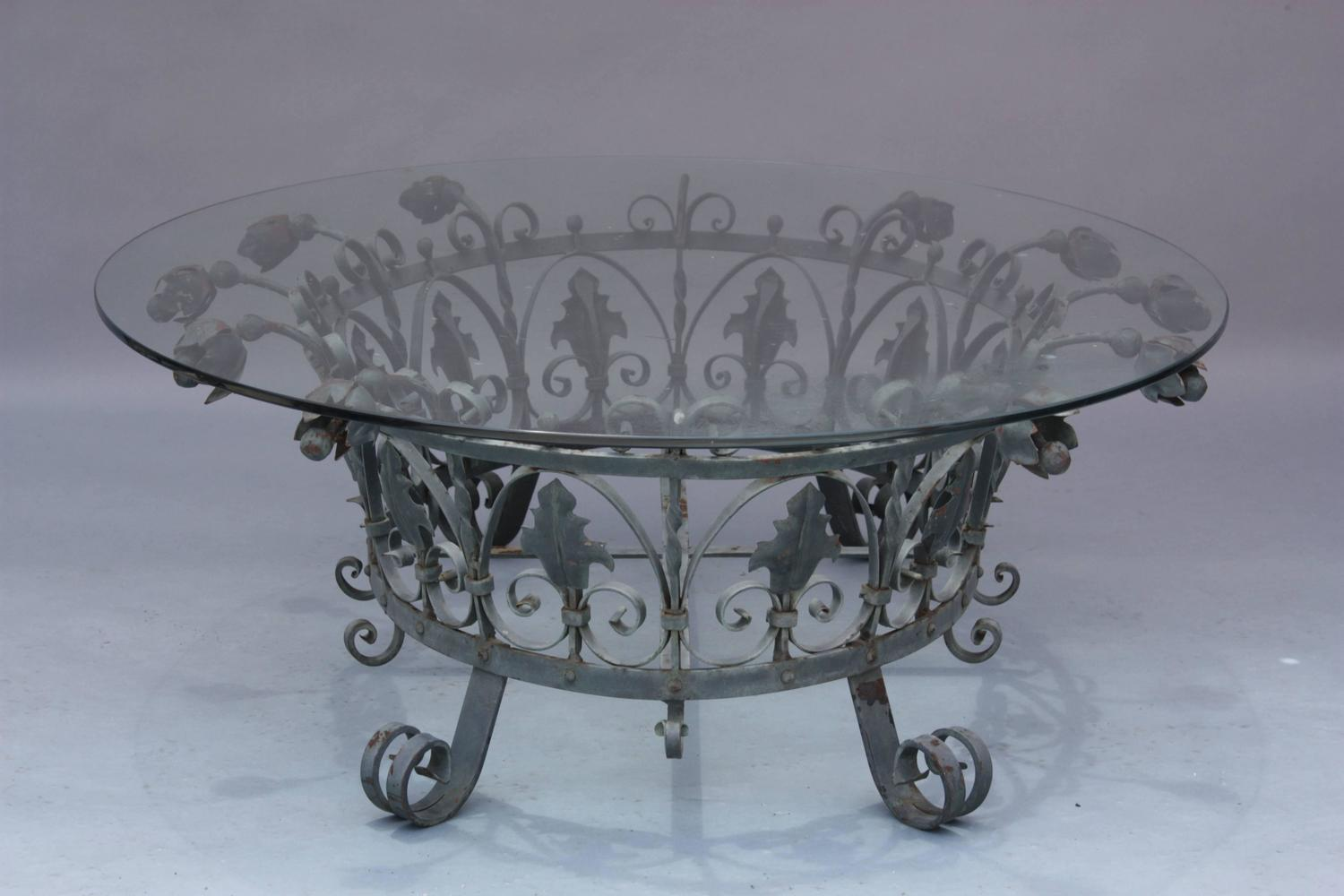 Hard To Find Spanish Revival Iron And Glass Coffee Table At 1stdibs