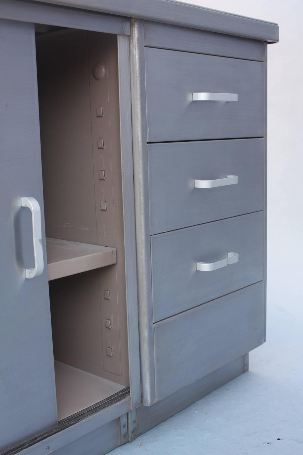 Long metal industrial storage cabinet for sale at stdibs