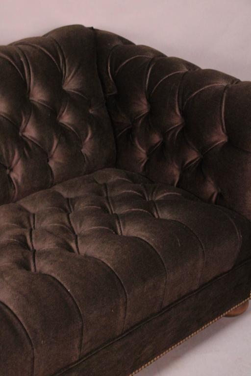 Chesterfield sofa. New dark brown mohair upholstery, circa 1930s