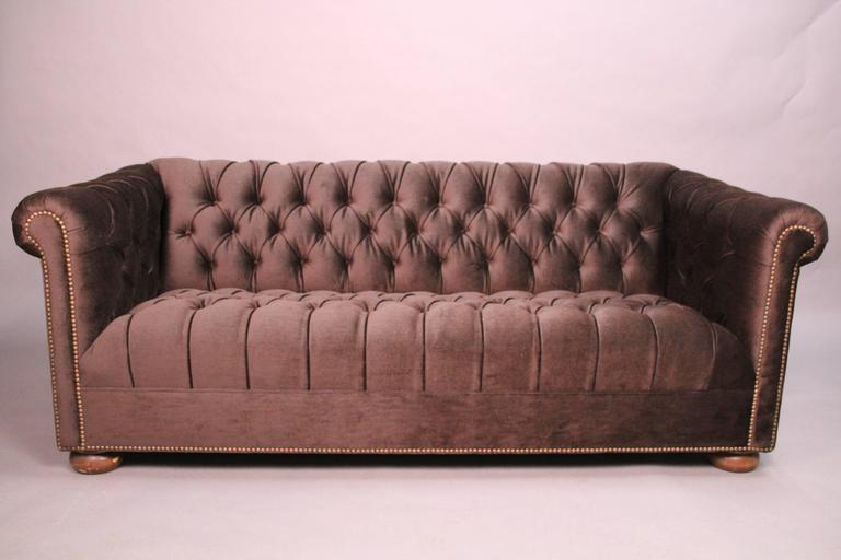 North American Classic Dark Brown Mohair Chesterfield For Sale