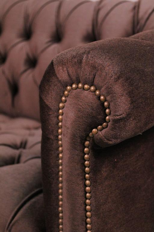 Mid-20th Century Classic Dark Brown Mohair Chesterfield For Sale