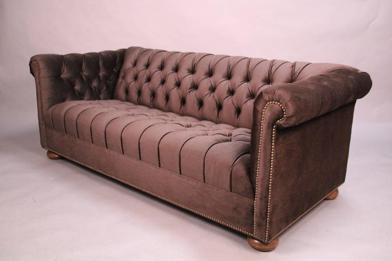 Classic Dark Brown Mohair Chesterfield In Good Condition For Sale In Pasadena, CA