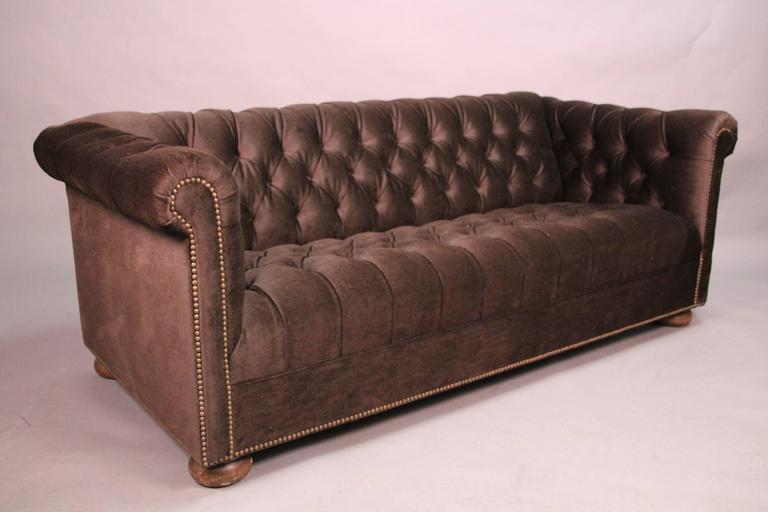 Classic Dark Brown Mohair Chesterfield For Sale 2