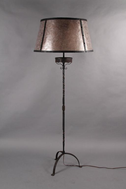 Antique Large Scale 1920s Tall Wrought Iron Floor Lamp
