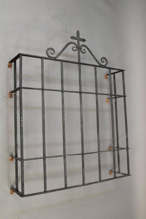 1920s Wrought Iron Window Grill In Good Condition For Sale In Pasadena, CA