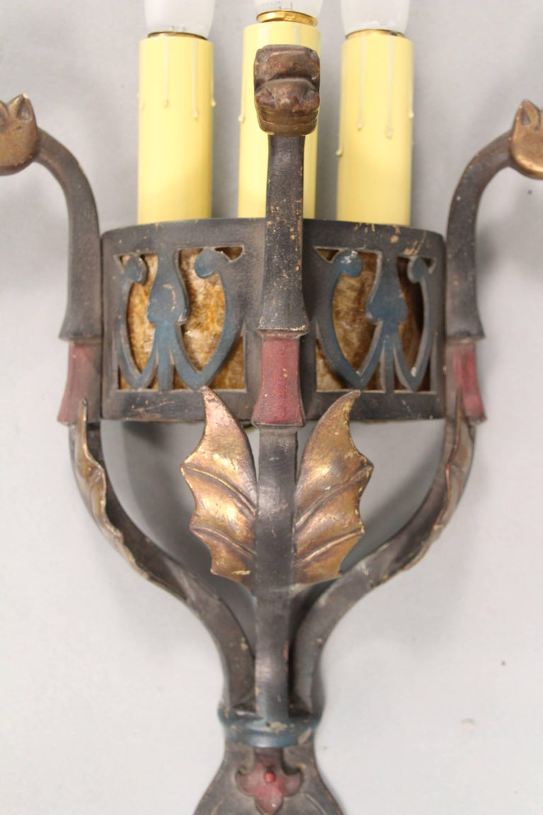 Antique Sconce Attributed To Oscar Bach With Dragon Heads