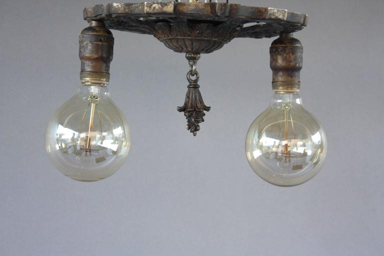 antique 1920s two-light ceiling mount light fixture at 1stdibs