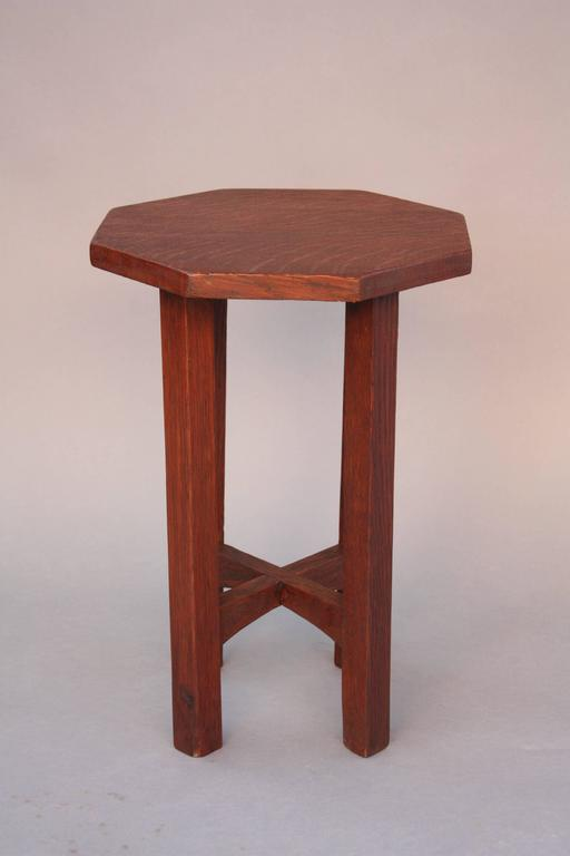 Arts and crafts hexagonal tabouret or side table circa for Arts and crafts side table