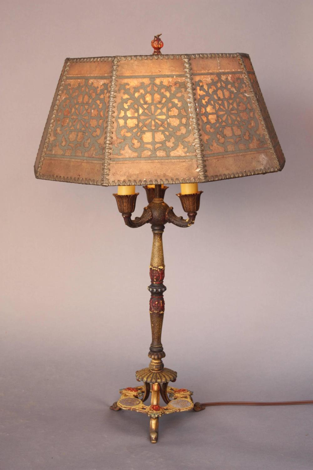 Outstanding Antique Table Lamp With Original Mica Shade At