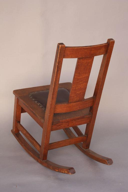 Arts and crafts rocking chair by limbert co signed at 1stdibs for Small wooden rocking chair for crafts