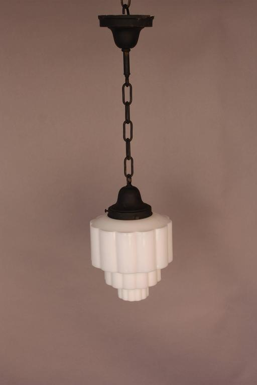 Great Art Deco Skyscraper Milk Glass Pendant Light, 1930s 2 Design Inspirations