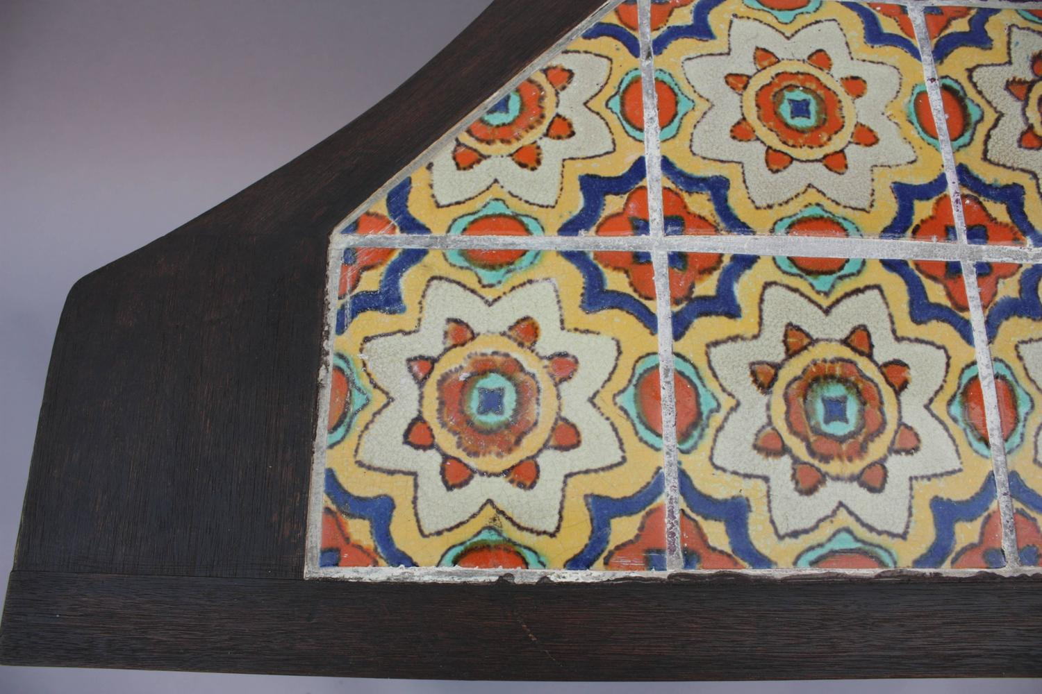 1930s Spanish Revival Table With Tudor Tiles At 1stdibs