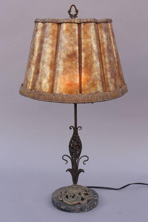 1920s Table Lamp With Fluted Mica Shade And Marble Base At