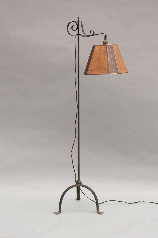 Antique Adjustable Bridge Lamp With Original Shade For