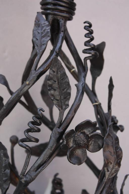 Spanish Colonial 1920s Unique Narrow Wrought Iron Chandelier with Five Lights For Sale