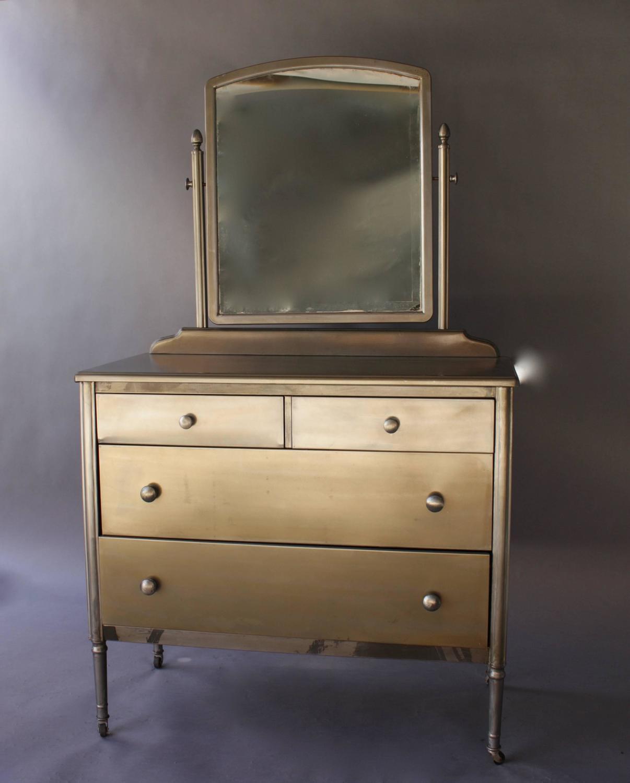 1930s Industrial Metal Dresser With Original Mirror For
