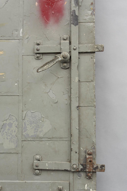 Vintage Industrial Fire Doors For Sale : Industrial metal fire door with great hinge system for