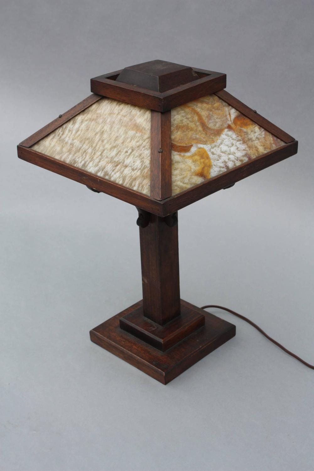 arts and crafts period oak table lamp for sale at 1stdibs. Black Bedroom Furniture Sets. Home Design Ideas