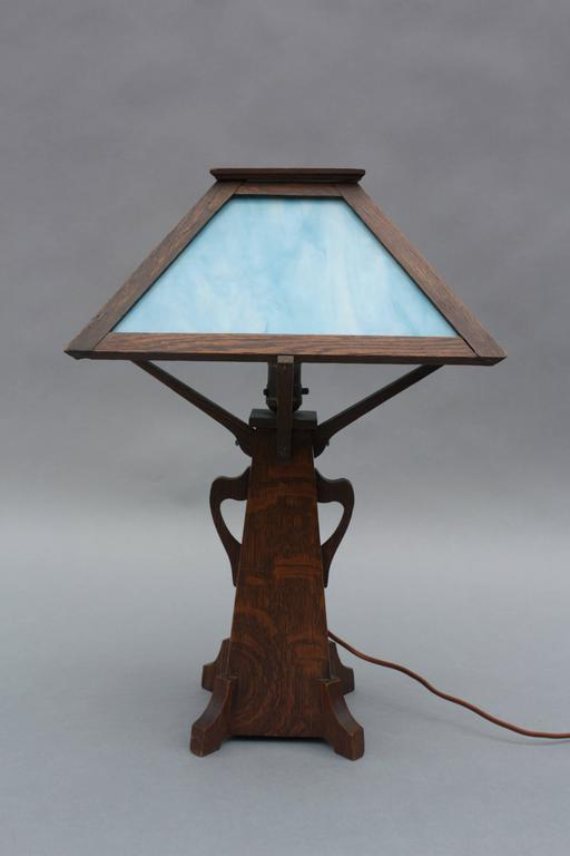 arts and crafts period oak and slag glass lamp at 1stdibs. Black Bedroom Furniture Sets. Home Design Ideas