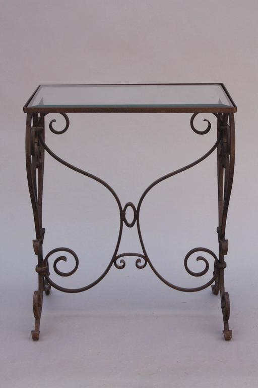 wrought iron side table with glass top at 1stdibs. Black Bedroom Furniture Sets. Home Design Ideas