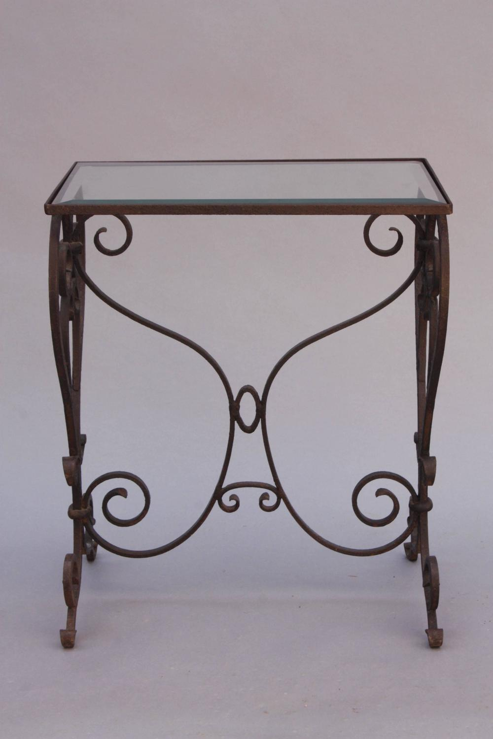 Wrought iron side table with glass top for sale at 1stdibs for Wrought iron and glass side tables
