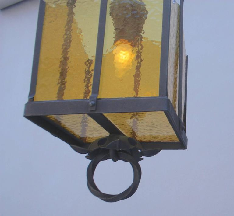 Priced and sold individually, circa 1920s pendant with replaced glass.  16