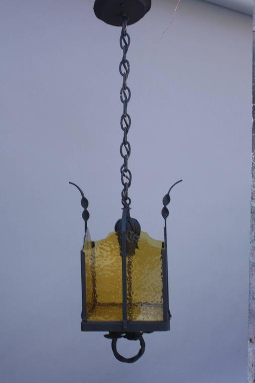 Spanish Colonial 1920s Spanish Revival Iron Pendant For Sale