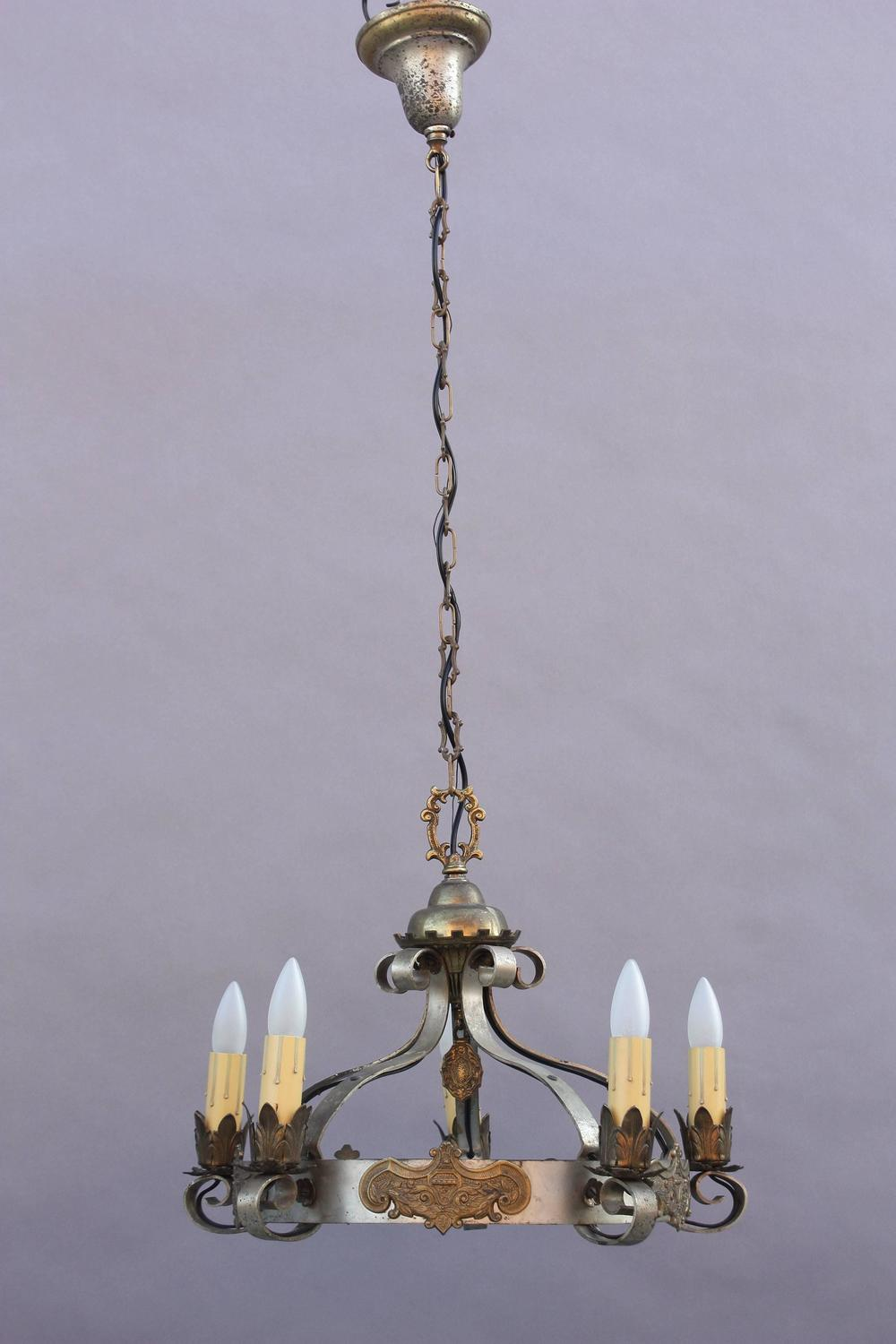 Gold Tone Pendant Lighting : Spanish revival chandelier with pewter and gold tone