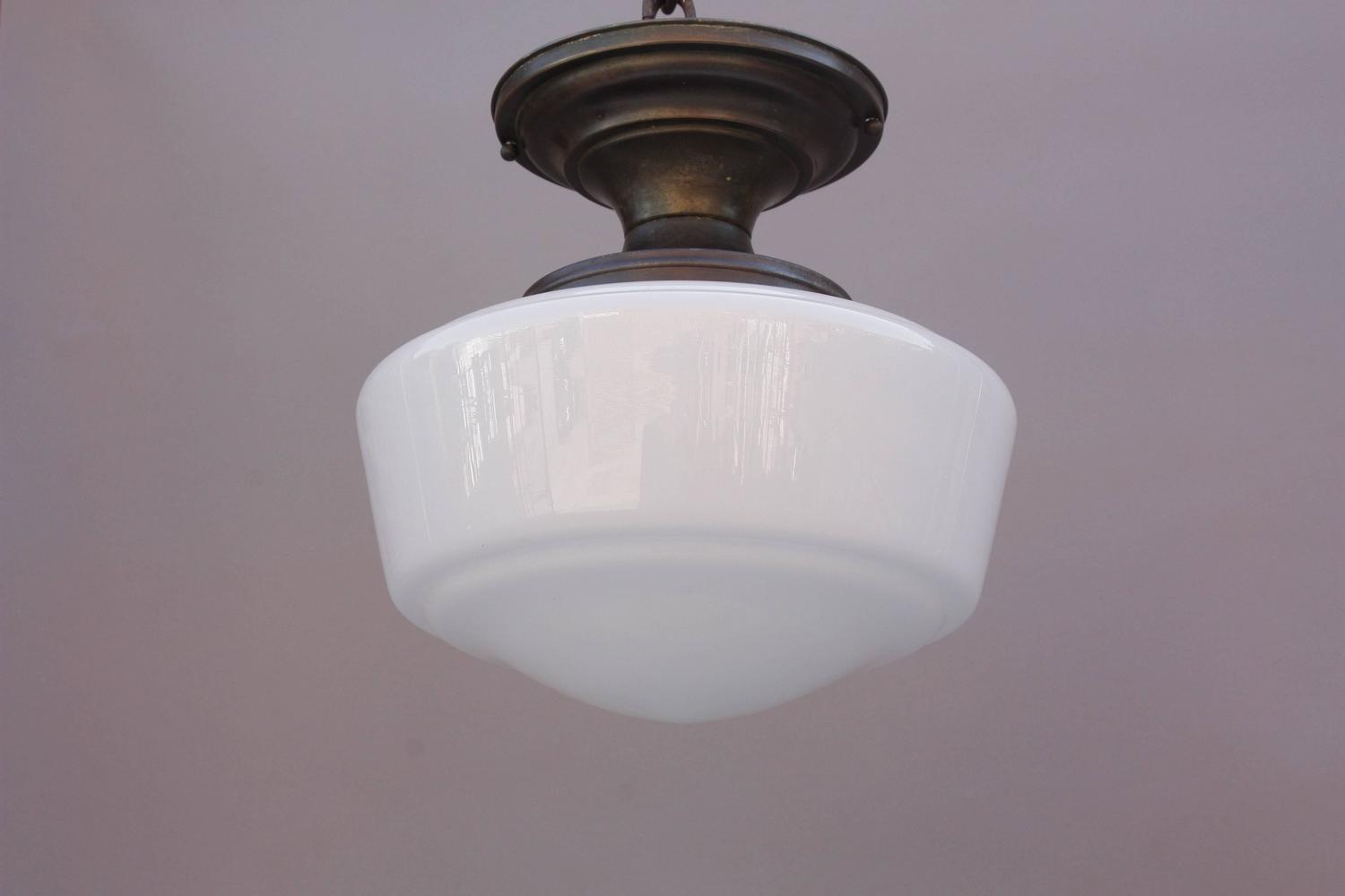 1930s Ceiling Light Fixture With Milk Glass Globe For Sale