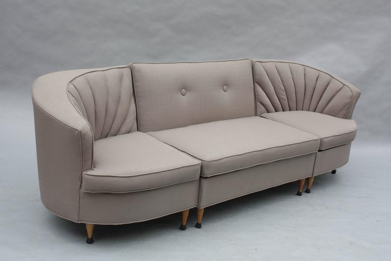 1960s three-piece couch with new grey upholstery, Measures: 31