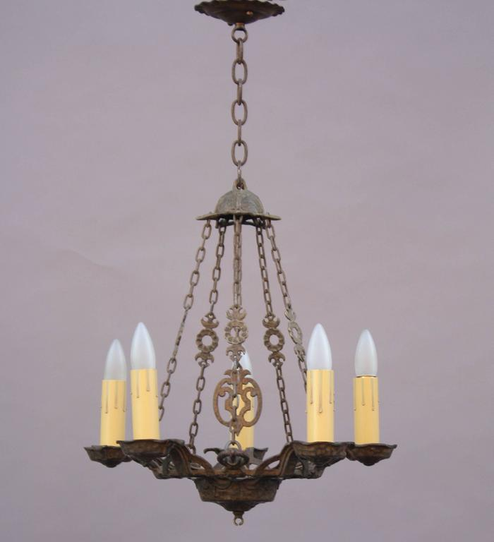 Spanish revival 1920s chandelier at 1stdibs for Spanish revival lighting fixtures