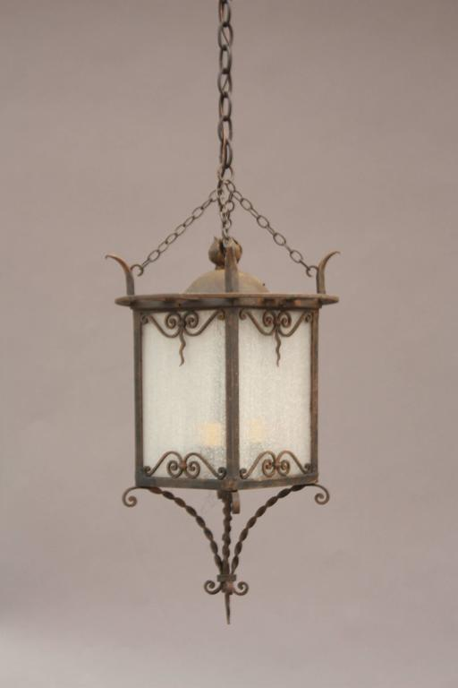 1920s spanish revival wrought iron and glass pendant for for Spanish revival lighting fixtures