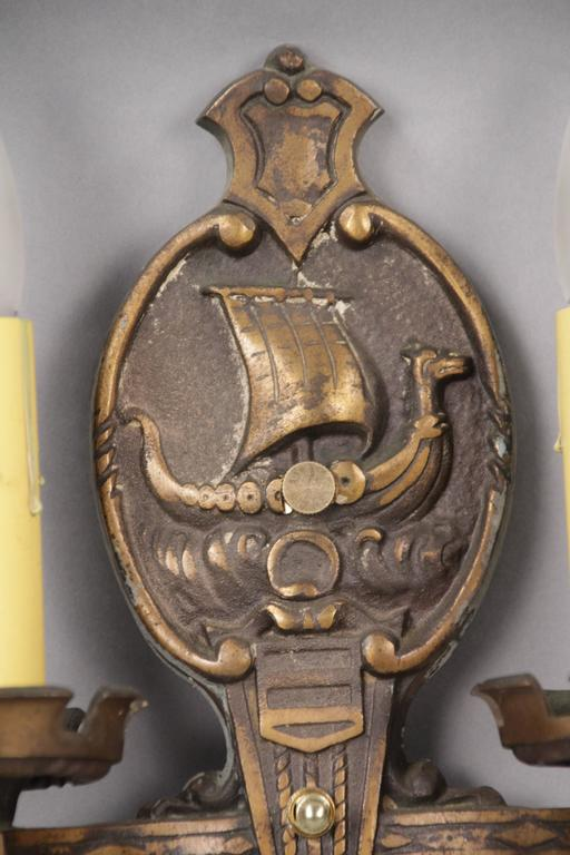 Spanish Colonial Pair of 1920s Double Sconces with Galleons For Sale