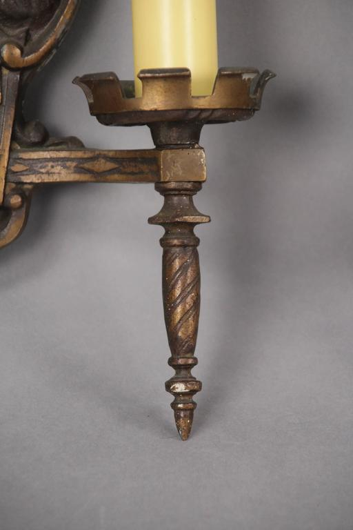 American Pair of 1920s Double Sconces with Galleons For Sale