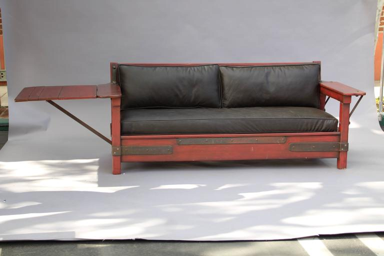Rancho Monterey 1930s Signed Red Monterey Red Sofa with One Drop Arm For Sale