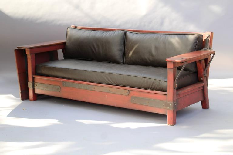 American 1930s Signed Red Monterey Red Sofa with One Drop Arm For Sale