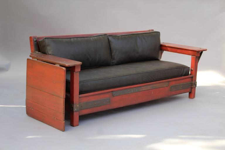 1930s Signed Red Monterey Red Sofa with One Drop Arm In Good Condition For Sale In Pasadena, CA