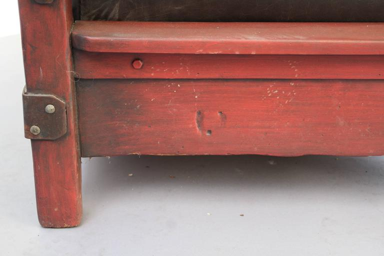 1930s Signed Red Monterey Red Sofa with One Drop Arm For Sale 1