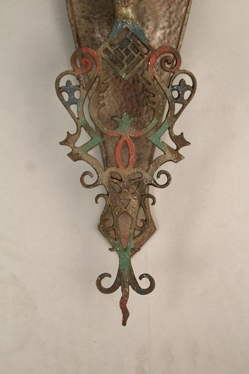 Spanish Colonial 1 of 3 Single Polychrome 1920s Sconces For Sale