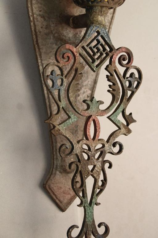 North American 1 of 3 Single Polychrome 1920s Sconces For Sale