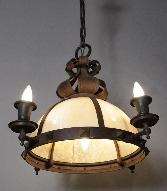 1910 arts and crafts dome chandelier with slag glass at for Arts and crafts chandelier