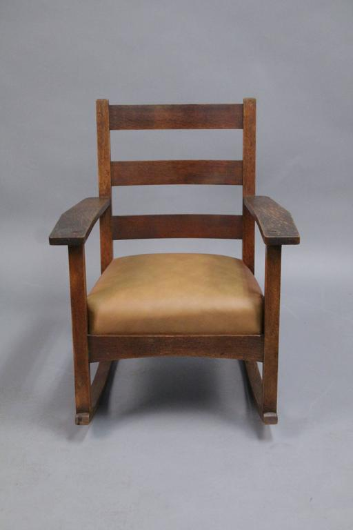 North American Antique Arts And Crafts Charles Stickley Rocking Chair With  New Leather Seat For Sale