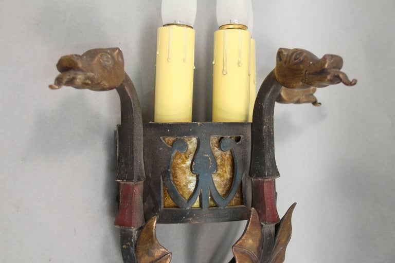 Spanish Colonial Antique Sconce Attributed to Oscar Bach with Dragon Heads For Sale