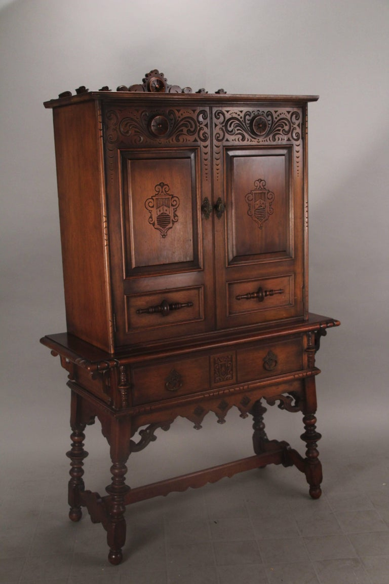 1920s Carved Walnut Cabinet 4
