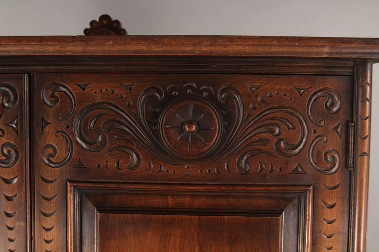 1920s Carved Walnut Cabinet 6