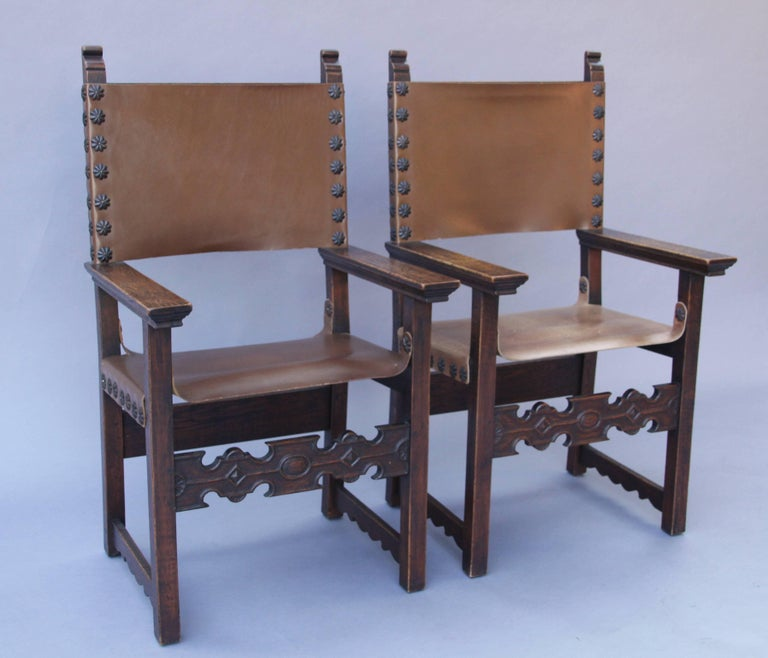 Set Of 12 Spanish Revival Dining Room Chairs Signed Jack