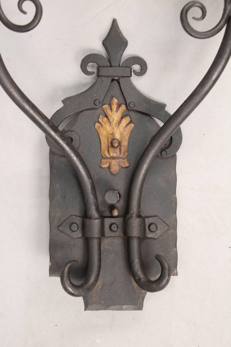 Spanish Colonial Large-Scale 1920s Wrought Iron Sconces For Sale