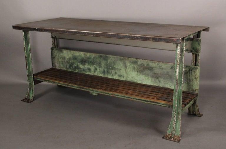 antique industrial metal work bench for sale at 1stdibs. Black Bedroom Furniture Sets. Home Design Ideas