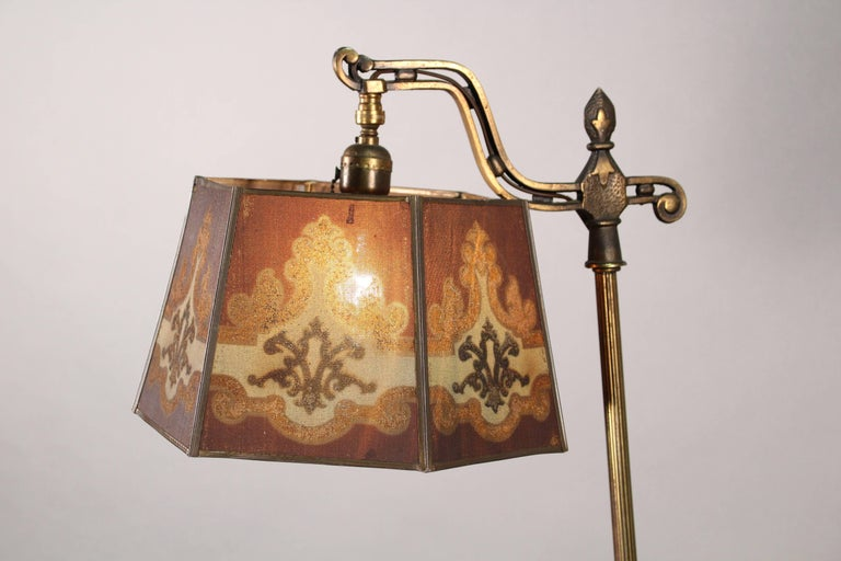 Antique 1920s Bridge Lamp With Metal Mesh Shade And