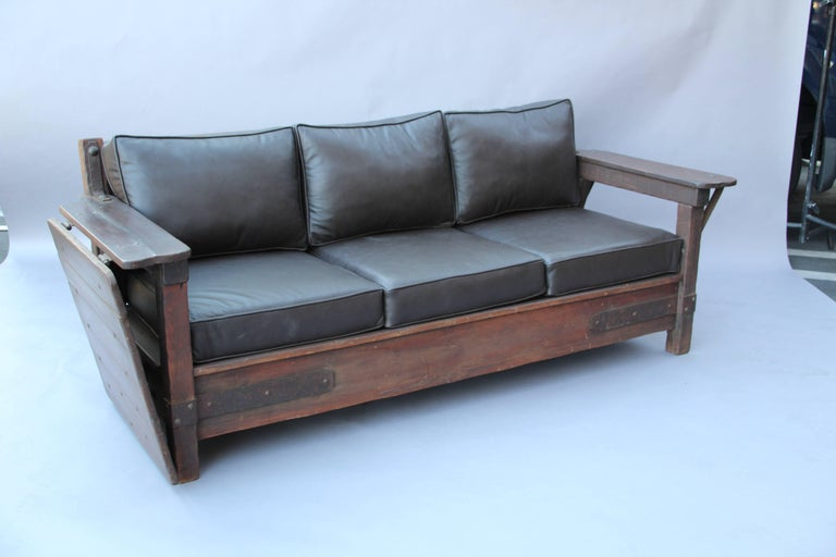 Signed Monterey Rancho Sofa with Drop Arm with Old Wood Finish 3